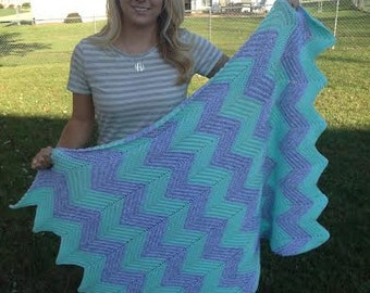 Mint Chevron Baby Afghan