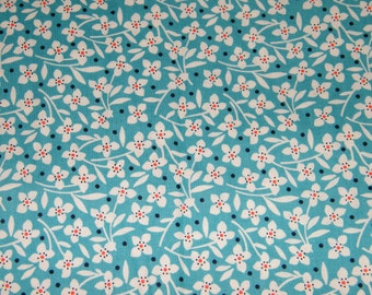 24 Inches TURQUOISE & White Floral Print 100% Cotton Quilt Crafting Fabric by the PIECE