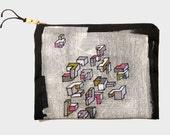 Zipper pouch, painted, canvas, handmade, geometric, doodle, clutch