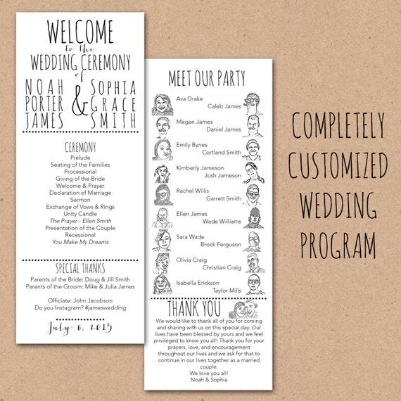 Printable Customized Wedding Program with Cartoon Party - Custom Digital Printable Unique, Fun, Quirky Wedding Ceremony Reception Program