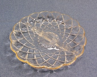 Gold Rimmed Divided Glass Dish