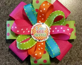 "1st Birthday Hair Bow - ""I am ONE derful"" - 1st Birthday Hair Bow or Headband"