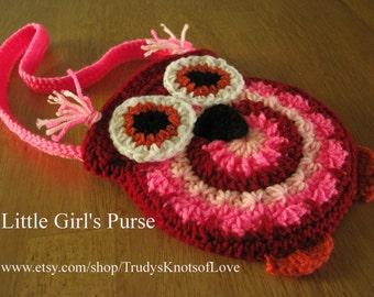 Girls Crochet Owl Purse, Pink Owl Purse with Shoulder Strap, Owl Purse, Bags & Purses, Owl Shoulder Bag, Girls Pink Owl Handbag, 32.97