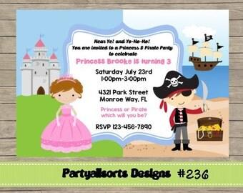 236 DIY - Princess and Pirate Invitations Cards.