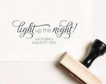 Light Up The Night Favor Stamp, Matches Favor Rubber Stamp, Fireworks Stamp, Personalized Stamp, Sparkler Wedding Stamp (SFAVS144 - S.1)