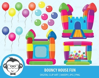 Bouncy House Fun Digital Clip Art - Instant Download Digital Clip Art For Commercial or Personal Use