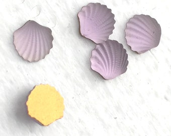 Vintage Glass Purple Seashell Cabochons with Foil Back - Item 245