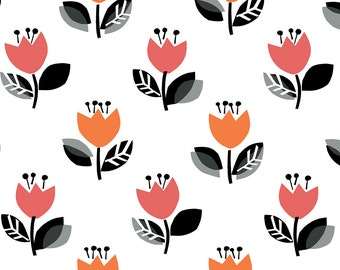 Tulips fabric in Orange and Pink from the Our Town Fabric Collection by Michelle D'Amore for Contempo Studios & Benartex Fabrics. #4690B-22