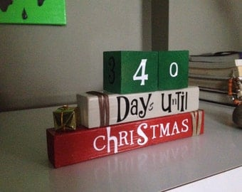 Christmas countdown reversible wooden blocks for home decor...