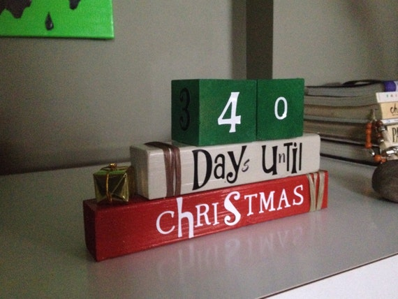 christmas countdown reversible wooden blocks for home decor