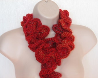 Red Crochet Curly Scarf Accented With Multi Colored Thread Throughout