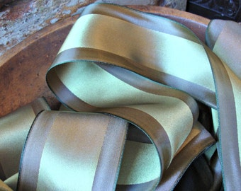 Olive Green Satin Ribbon with Golden Brown Edges