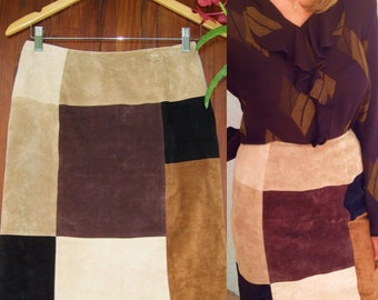 Retro 1970's Color Block Suede Skirt