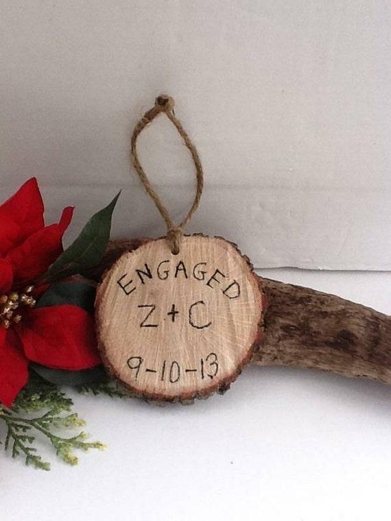 Engaged christmas ornament tree slice personalized christmas for Engagement christmas tree ornaments