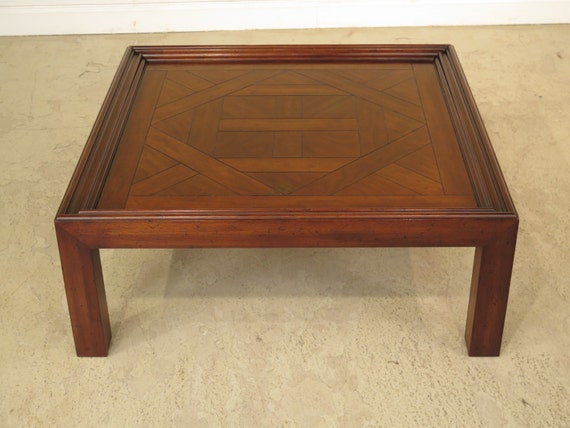 37109e Drexel Heritage Walnut Large Square Cocktail Table