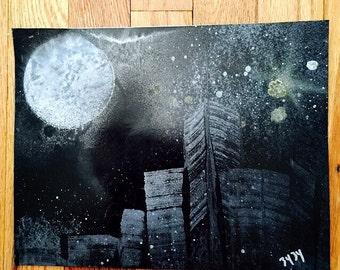 """8.5"""" x 11"""" City Spray Painting no. 10"""