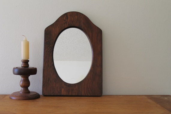 Round Mirror Wood Wall Wooden Frame Rustic Small Home Decor