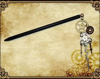 Stick Pin hair hairstyle pendant charm charm steampunk gear clock gear clock