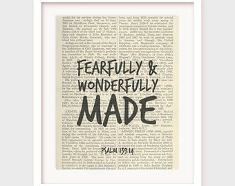 Nursery Bible Verse Art, Fearfully & Wonderfully Made, Psalm 139:14, Childrens Bible Verse Print, Scripture Artwork, Instant Download