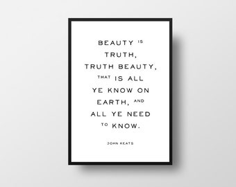 John Keats, Poem, Beauty Poem, Typographic Print, Beauty Quote, Ode on a Grecian Urn, Literary poster, Literary, Books, Poems, Vintage