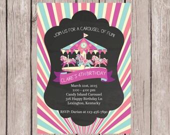 PRINTABLE- Carousel birthday Invitation- Carousel invitation- Carousel birthday- Carousel invite- Carousel Party Invite- 5x7 JPG