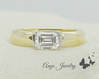 1.00 Ct. Horizontal Emerald Cut Diamond Solitaire Engagement Ring on 14K Yellow and White Gold