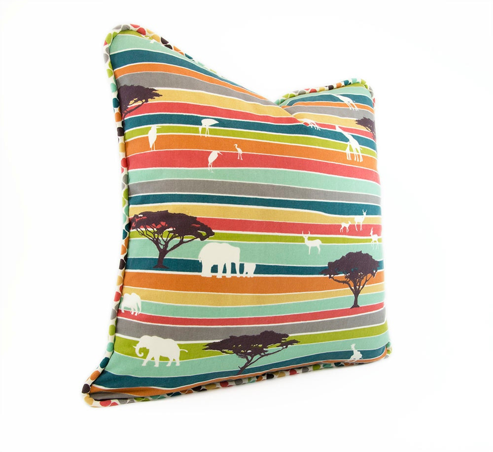 Serengeti Decorative Pillow Cover Organic by HermitCrabStitchery