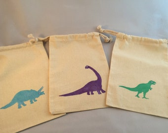 Dinosaur Favor Bags: Muslin Bags With Dinosaur Designs