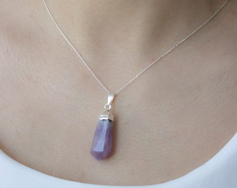 Amethyst Pendant with Silver Chain