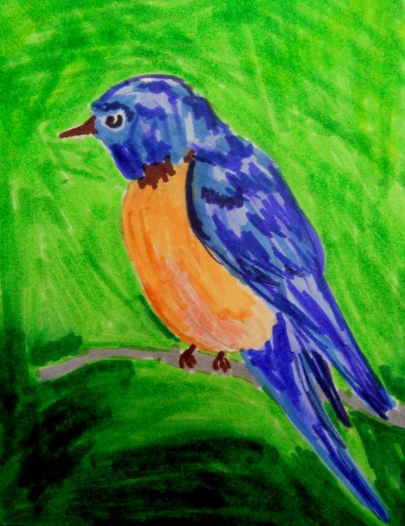 Original Hand Painted Bird Mini Masterpiece LEONARD Blank Note Card Blue Bird Primitive Folk Art Keepsake Signed Artwork birds wildlife