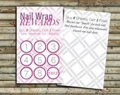 Nail Wrap Rewards Cards   100 - 250 - 500   Customer Loyalty Program   Direct Sales Marketing   Small Business Tools   KFT Design