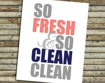 So Fresh Bathroom Art Print   Pink Coral & Navy   Instant Download Printable Digital File   KFT Design Original