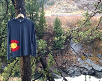 Colorado Flag Hoodie/Long Sleeve Shirt (Recycled/Repurposed Materials)