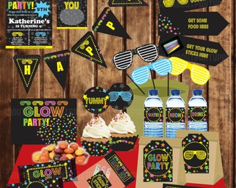 PDF format-Instant Download-Neon color birthday party pack-complete party pack printables-for personal use only