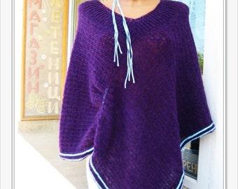 Women's Poncho,  Poncho Mohair, Poncho Crochet, Purple Ladies Poncho,  Warm Poncho, Knitted Soft Poncho