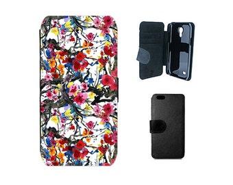 Floral wallet case iPhone 6S 7 8 Plus SE X 5S 5 4S, Samsung Galaxy S8 plus S7 S6 Edge S4 S5 Mini Note 5 Japanese cherry blossom sakura. F125