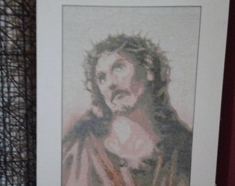 Christ Embroidered on Cross stitch
