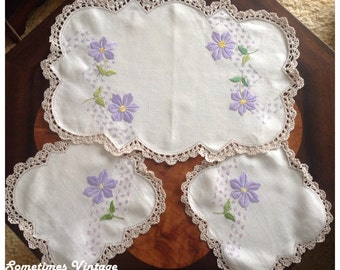Hand Embroidered Duchess Set - Purple Daisies on Ecru Linen with Crocheted Lace Edge