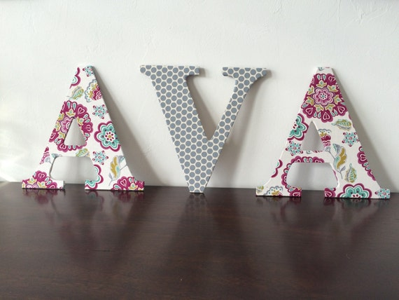 letters fabric covered spell baby or childs name or initials or