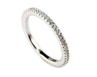 Sterling Silver, Eternity Ring, Full Eternity Band, Engagement Ring, Wedding Band, Thin CZ ring band, Micro pave, Kunckle Ring