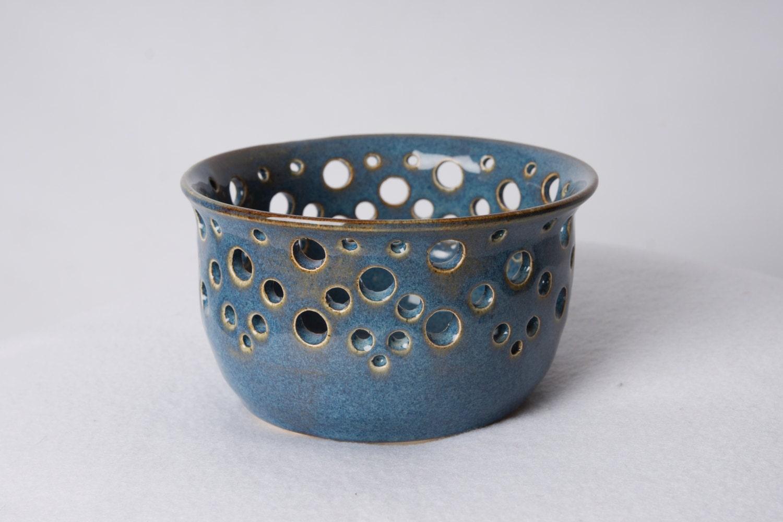 Porcelain Tea Light Holder Blue Candle Holder Pottery Candle