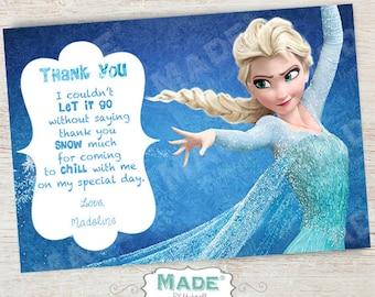 Personalized Elsa Thank You Card, Frozen Birthday, Girl Birthday, Boy Birthday, Party