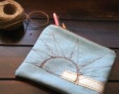 pencil zipper bag/pouch.Pencil case for art supplies. Light blue denim fabric, white lining.Free hand embroidery sunshine