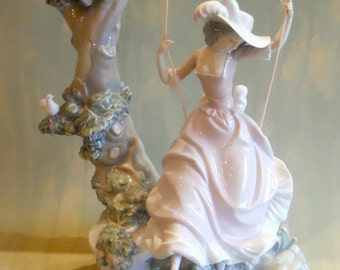 Lladro Victorian Girl On A Swing
