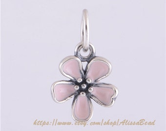Authentic 925 Sterling Silver Cherry Blossom Flower Dangle Charm Bead with Pink Enamel Fits European Style Jewelry Bracelets Necklaces LW260