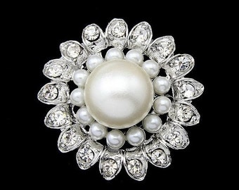 Big Pearl Brooch, Wedding Pin, Wedding Brooch, Rihestone brooch, Beautiful Brooch,  Brooch, Unique Brooch, Metal and Pearl, Large Pearl
