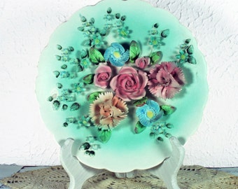 Vintage LEFTON Decorative 3 Dimensional Flower Plate