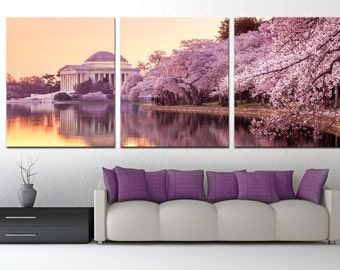 Jefferson Memorial, Cherry Blossom Trees - 3 Panel Split, Triptych Canvas Print - Photography print for interior pink/purple home wall decor
