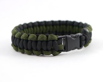 550 Paracord Survival Bracelet OD Green and Black Cobra Weave - 9""