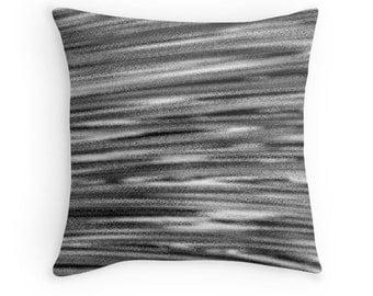 Black White Abstract Pillow, Black White Brushstrokes, Decorative Pillow, Abstract Pillow, Black White Pillow